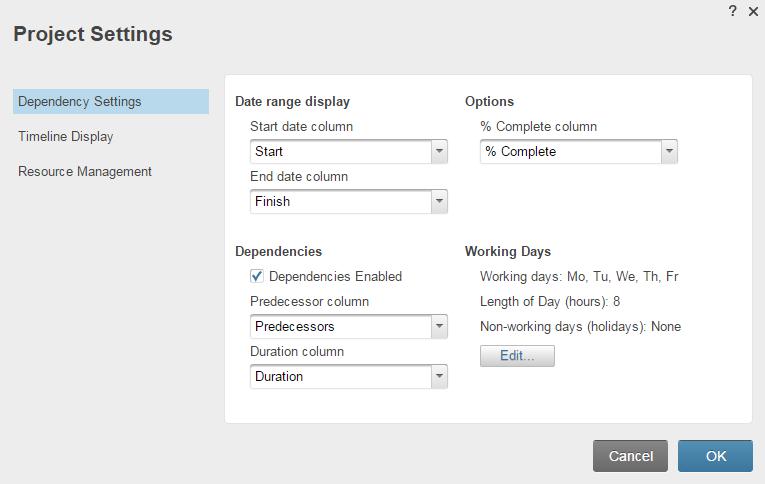 Project Sheet Columns: Start Date, End Date, Duration