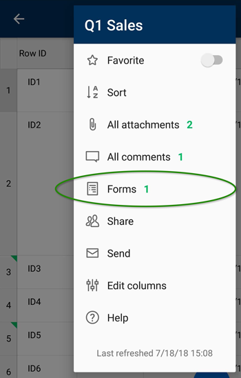 forms android sheet menu