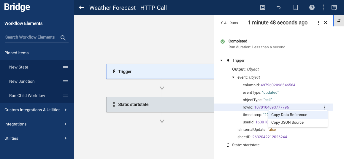 Copy Data Reference for Weather Workflow