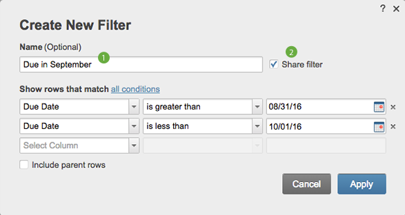 New Filter form with 1 next to Name box and 2 next to Share filter checkbox