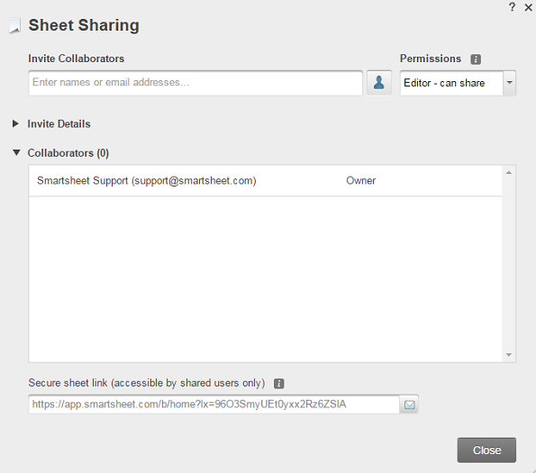 Sheet Sharing Collaborators
