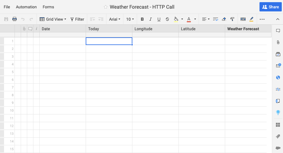 Example Smartsheet Sheet for weather workflow