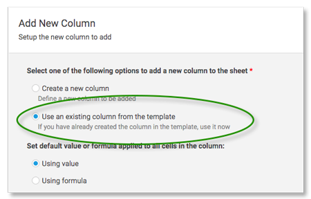 Use Existing Column