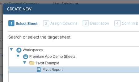 Sheet or report to be used as source for pivot table