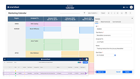 Keep Your Teams Organized With the Smartsheet Calendar App
