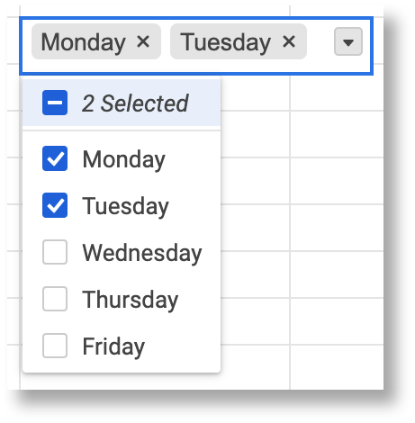 Multi-select dropdown list choose value