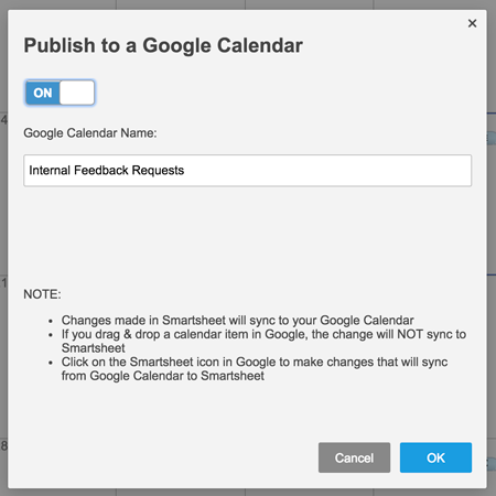 Publish to a Google Calendar window
