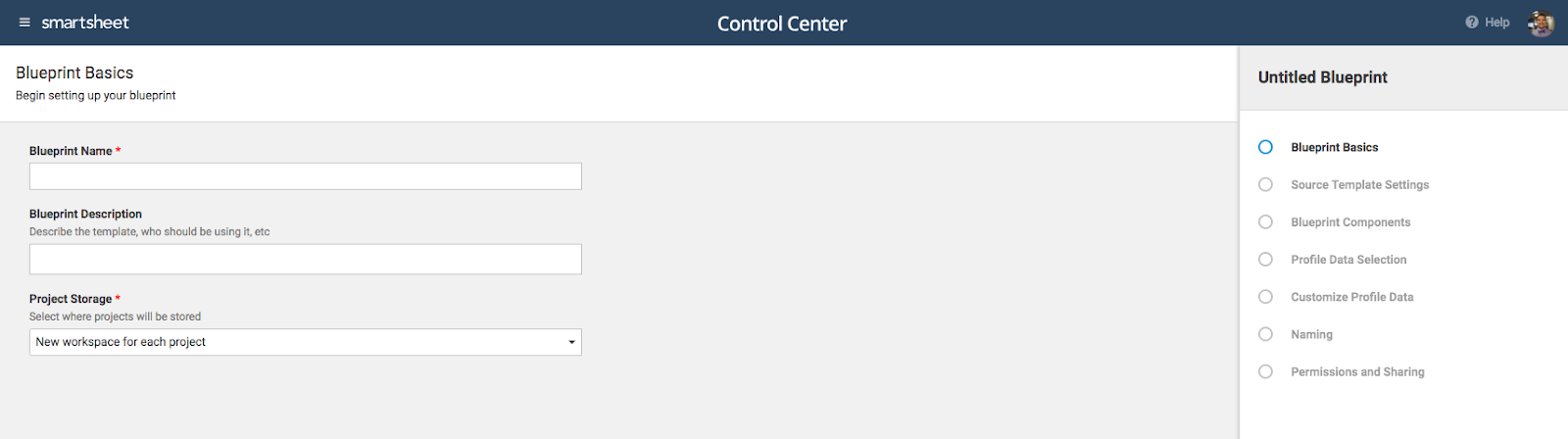 smartsheet control center create a blueprint smartsheet learning