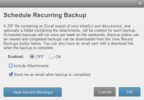 Schedule Backup Form
