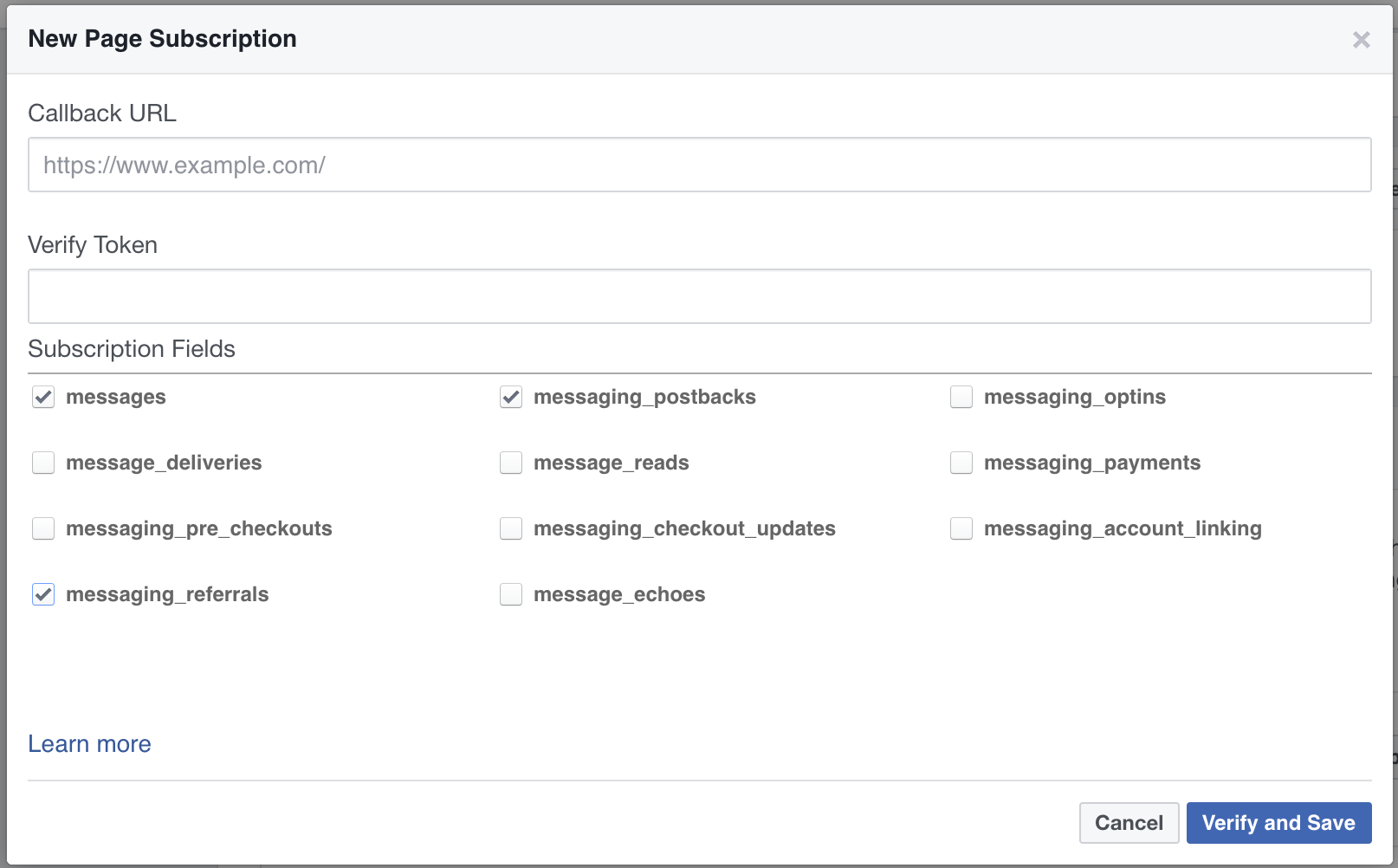 Messenger Integration verify and save settings
