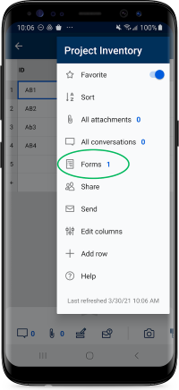 Expanded menu with Forms highlighted in Smartsheet for Android