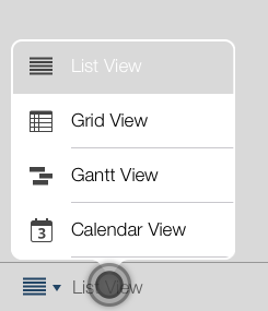 switch view, list, grid, gantt, calendar