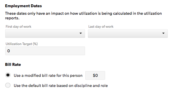 Non-billable settings