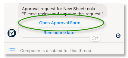 Open approval form button.