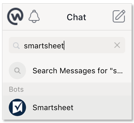 Type Smartsheet in Search chats.