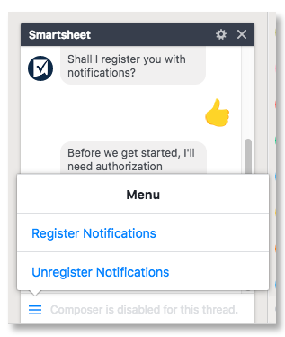 Unregister from notifications.